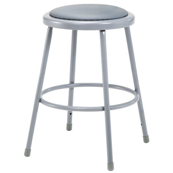 """National Public Seating 6424 24"""" Gray Round Padded Lab Stool"""