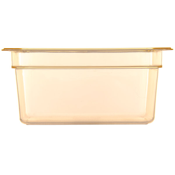 Carlisle 10422B13 StorPlus 1/2 Size Amber High Heat Food Pan - 6 inch Deep