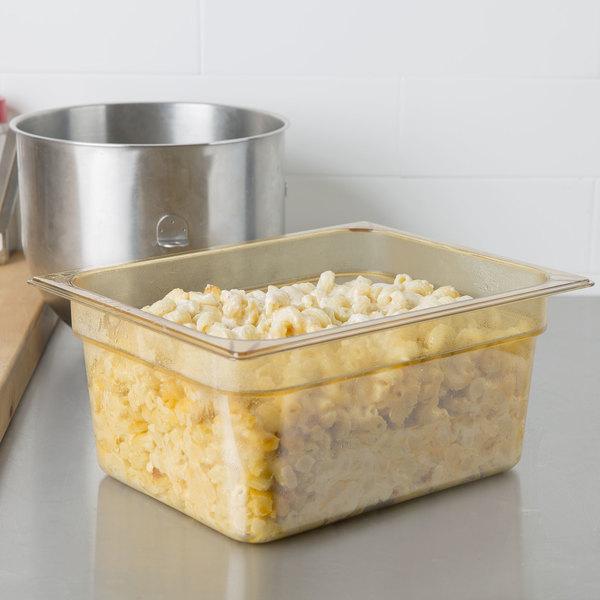 "Carlisle 10422B13 StorPlus 1/2 Size Amber High Heat Plastic Food Pan - 6"" Deep Main Image 2"