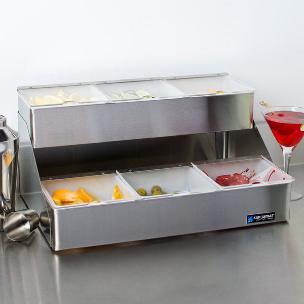 San Jamar B4706INL 6-Compartment Two Tier Stainless Steel Condiment Bar with Split Notched Lids Main Image 3