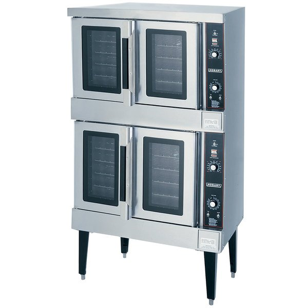 Hobart HGC502 Natural Gas Double Deck Full Size Convection Oven - 100,000 BTU Main Image 1