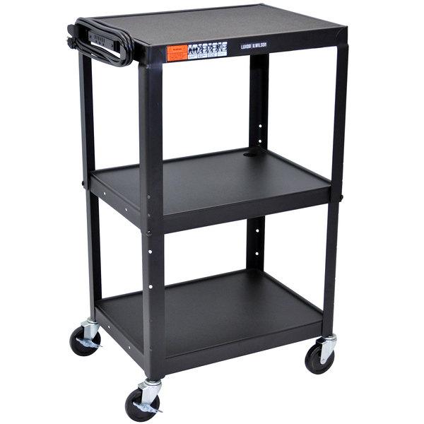 "Luxor AVJ42 Black 3 Shelf A/V Utility Cart 24"" x 18"" - Adjustable Height"
