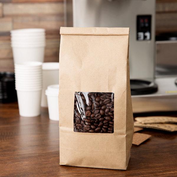 1 lb. Brown Kraft Customizable Tin Tie Coffee Bag with Window - 1000/Case