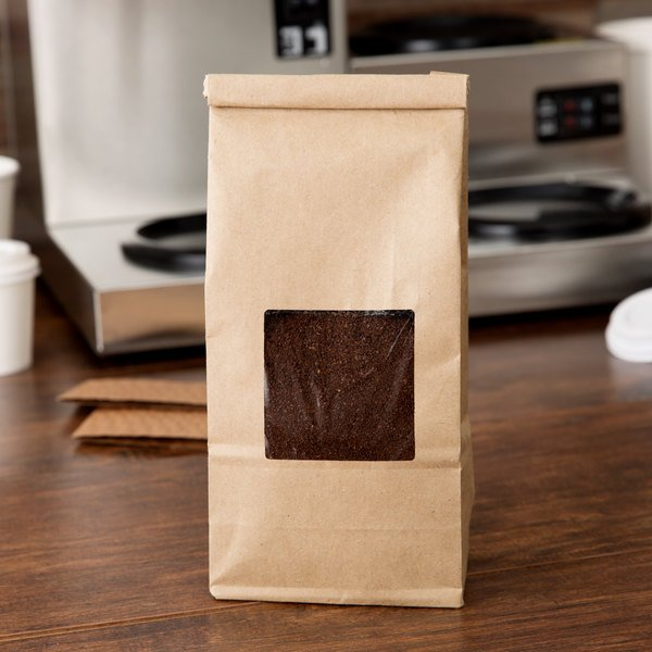 1 lb. Brown Kraft Customizable Tin Tie Coffee Bag with Window - 1000/Case
