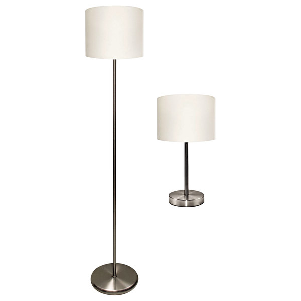 huge discount c80d2 44949 Ledu L9135 Slim Line Silver Steel 2-Piece Table and Floor Lamp Set with  White Linen Shades