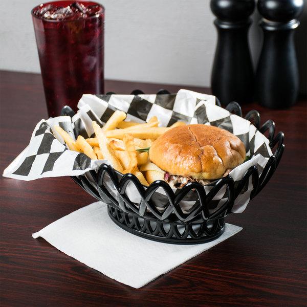 """GET OB-940-BK Black Oval 10"""" x 8 1/4"""" Plastic Fast Food Basket - 12/Pack"""