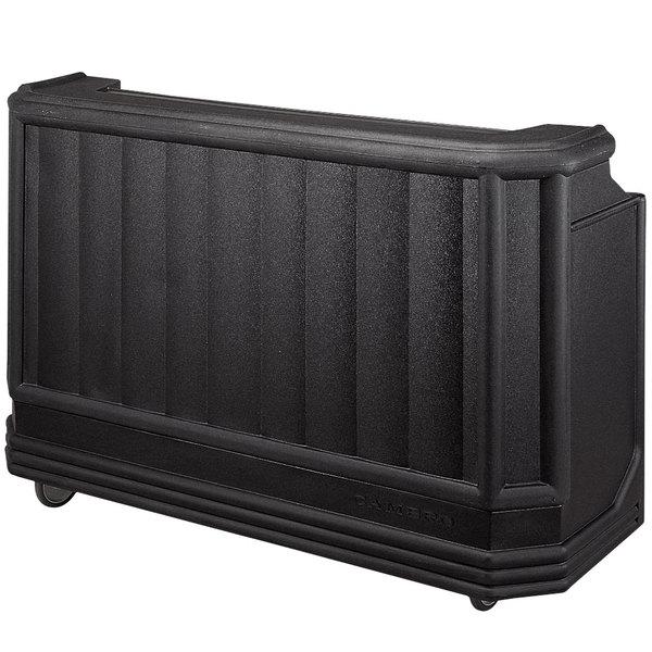 """Cambro BAR730PMT110 Black Cambar 73"""" Portable Bar with 7-Bottle Speed Rail and Complete Post Mix System with Water Tank"""