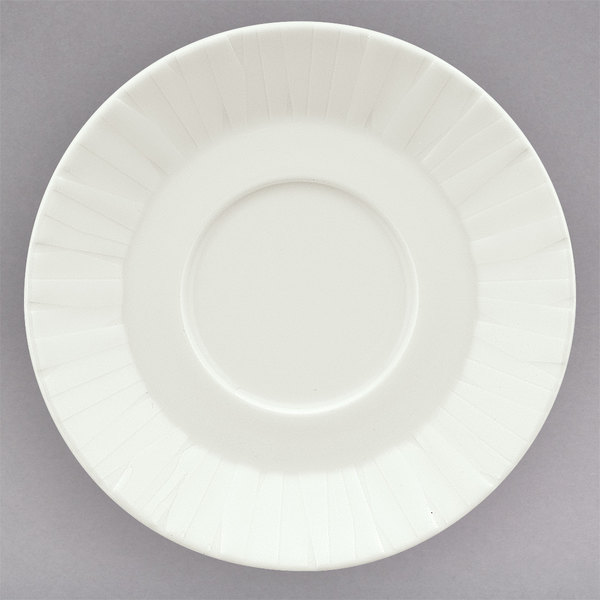 """Schonwald 9366968 Character 6 3/8"""" White Round Porcelain Cream / Soup Saucer - 12/Case"""