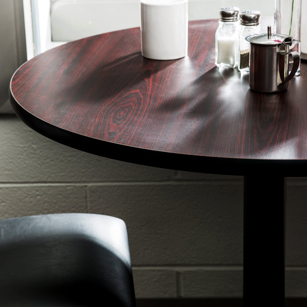 """Lancaster Table & Seating 24"""" Laminated Round Table Top Reversible Cherry / Black"""