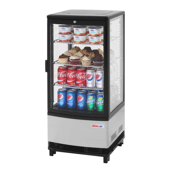 "Turbo Air CRT-77-1R-N 17"" Diamond Show Case Glass Sided Countertop Display Refrigerator Main Image 1"