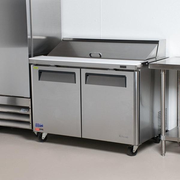 """Turbo Air MST-48-18-N M3 Series 48"""" 2 Door Mega Top Stainless Steel Refrigerated Sandwich Prep Table Main Image 9"""