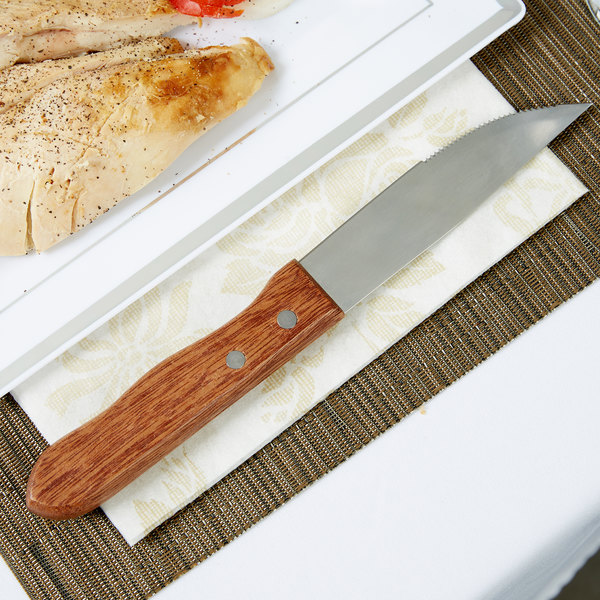 """5"""" Jumbo Stainless Steel Steak Knife with Wood Handle and Pointed Tip - 12/Case"""