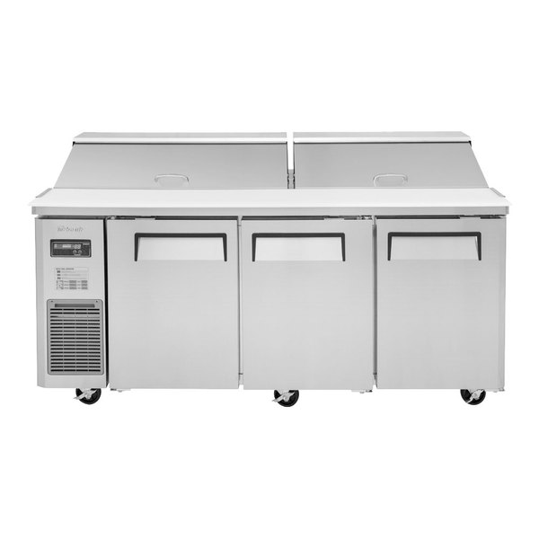 """Turbo Air JST-72-N 71"""" 3 Door Side Mount Compressor Refrigerated Sandwich Prep Table Main Image 1"""