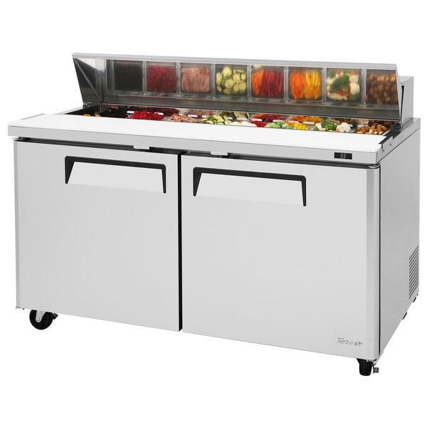 "Turbo Air MST-60-N M3 Series 60"" 2 Door Stainless Steel Refrigerated Sandwich Prep Table Main Image 1"