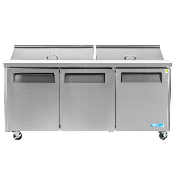 Turbo Air MST-72-N M3 Series 72 inch 3 Door Stainless Steel Refrigerated Sandwich Prep Table