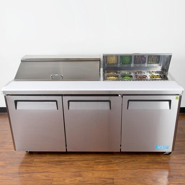 """Turbo Air MST-72-N M3 Series 72"""" 3 Door Stainless Steel Refrigerated Sandwich Prep Table"""