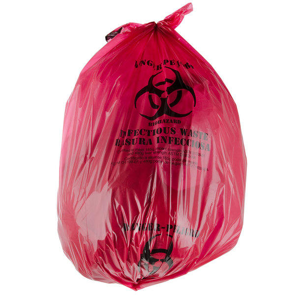 """33 Gallon 33"""" x 40"""" Red Isolation Infectious Waste Bag / Biohazard Bag Linear Low Density 1.2 Mil - 100/Case"""