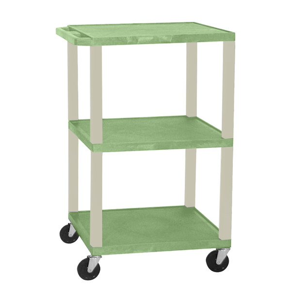 """Luxor WT1642GE Green Tuffy Open Shelf A/V Cart 18"""" x 24"""" with 3 Shelves - Adjustable Height Main Image 1"""