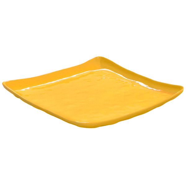 """GET ML-143-TY New Yorker 16"""" Square Plate - Tropical Yellow"""