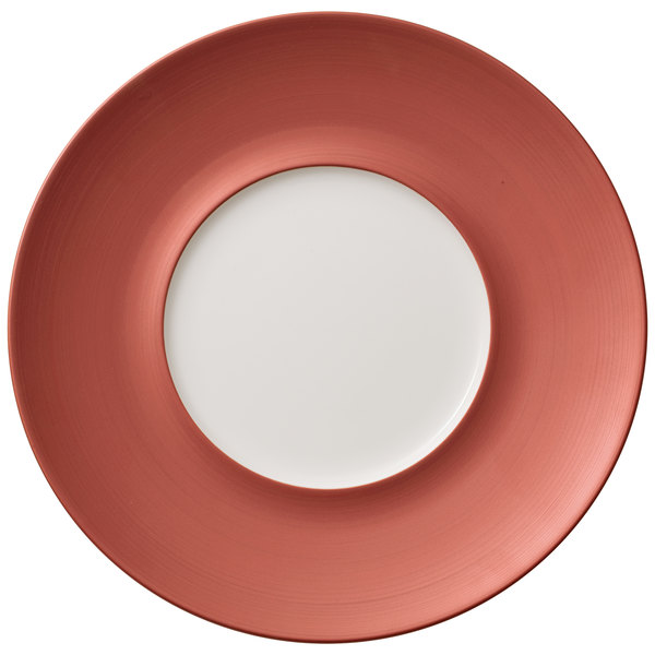 """Villeroy & Boch 16-4070-2795 Copper Glow 11 1/4"""" Copper Rim with 5 3/4"""" White Well Premium Porcelain Flat Coupe Plate - 6/Case Main Image 1"""