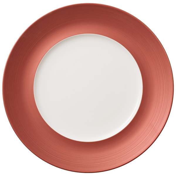 """Villeroy & Boch 16-4070-2796 Copper Glow 11 1/4"""" Copper Rim with 7"""" White Well Premium Porcelain Flat Coupe Plate - 6/Case Main Image 1"""