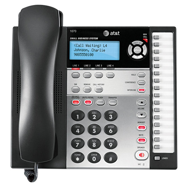 AT&T 1070 4 Line Black / Silver Corded Expandable Telephone with Caller ID