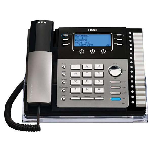 RCA 25425RE1 ViSYS 4 Line Black / Silver Corded Phone with Digital Answering Machine and Caller ID