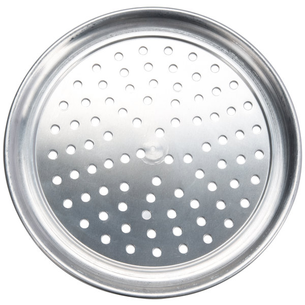 "American Metalcraft PHATP6 6"" Perforated Heavy Weight Aluminum Wide Rim Pizza Pan"