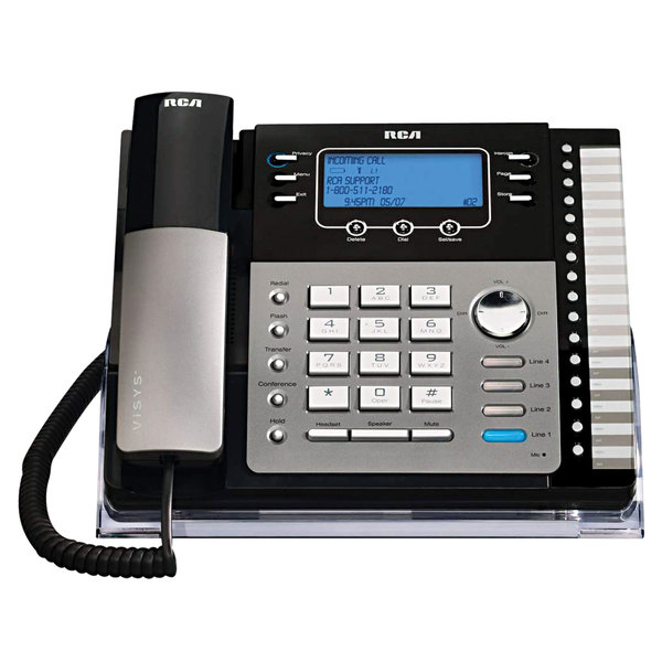RCA 25424RE1 ViSYS 4 Line Black / Silver Corded Phone with Caller ID