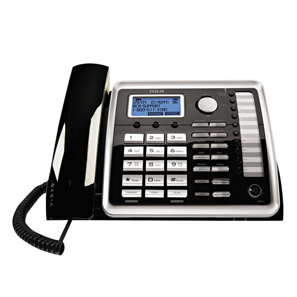 RCA 25260 ViSYS 2 Line Black / Silver Corded Wireless Speakerphone