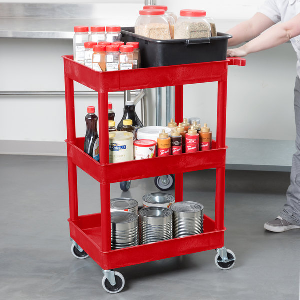 "Luxor RDSTC111RD Red 3 Tub Utility Cart - 18"" x 24"" x 38 1/2"""