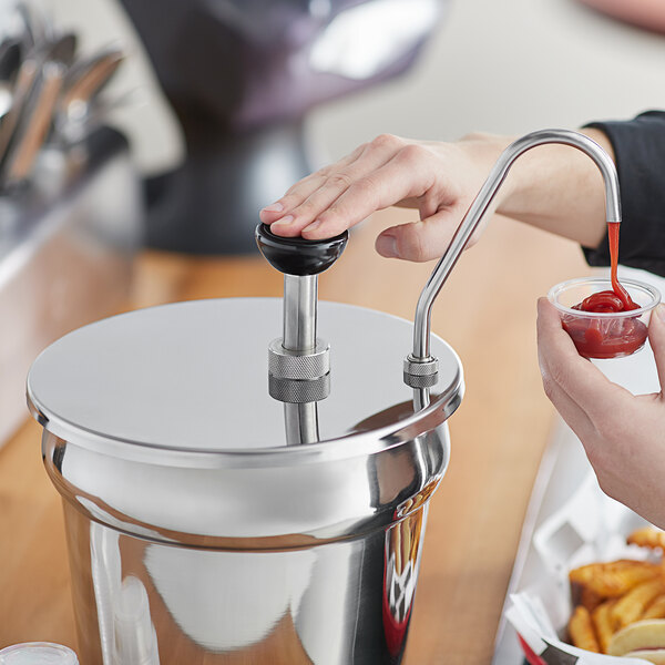 Carnival King CP7 1 oz. Stainless Steel Condiment Pump for 7 Qt. Inset Main Image 2