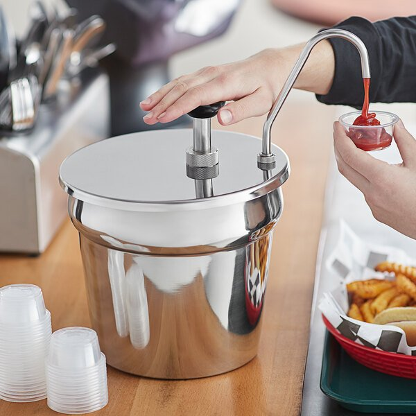 Carnival King CP7KIT 7 Qt. Stainless Steel Condiment Pump with Inset Main Image 3