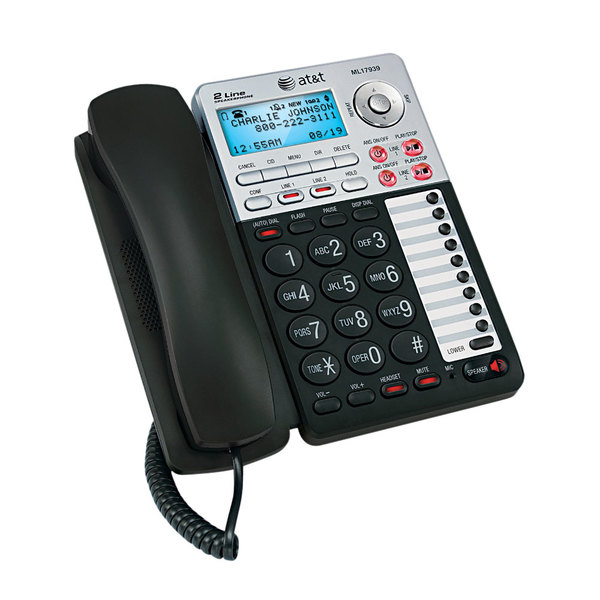 AT&T ML17939 Black / Silver 2 Line Corded Speakerphone with Digital Answering System and Caller ID Main Image 1