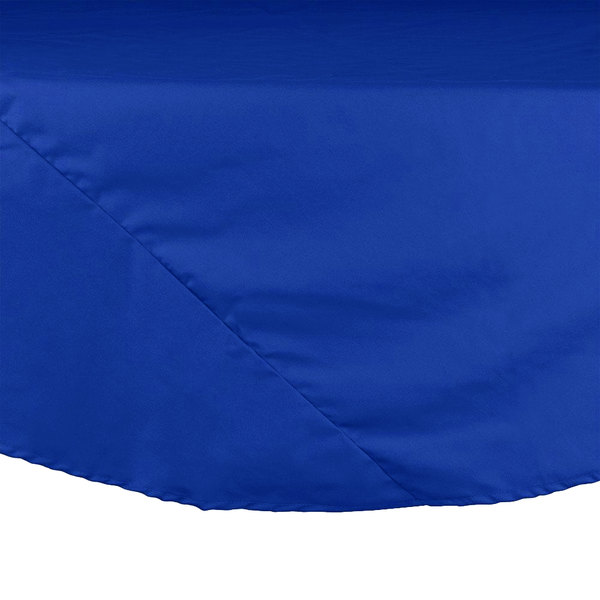 "Intedge 120"" Round Royal Blue Hemmed Polyspun Cloth Table Cover Main Image 1"