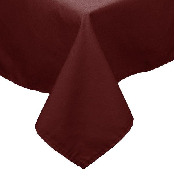"36"" x 36"" Burgundy 100% Polyester Hemmed Cloth Tablecloth"