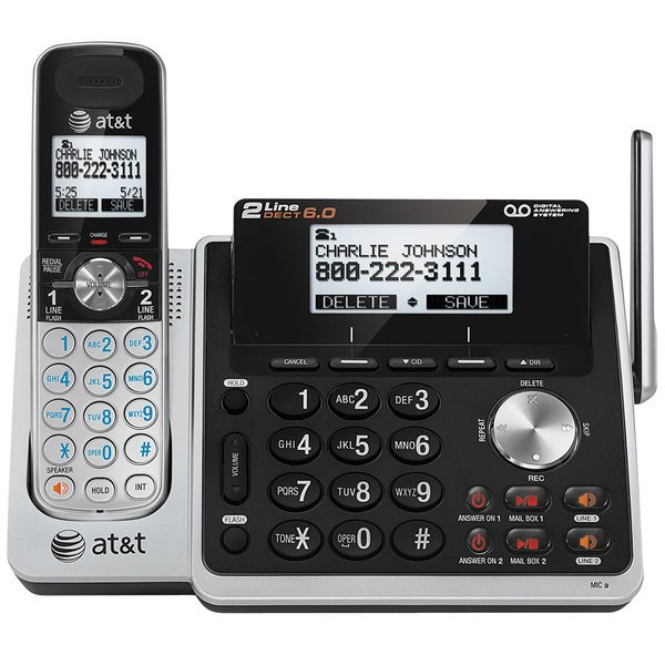 AT&T TL88102 Black / Silver 2 Line Cordless Phone with Digital Answering System and DECT 6.0 Technology