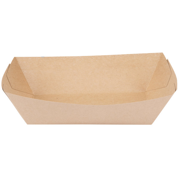 Bagcraft Papercon 300700 5 lb. EcoCraft Grease-Proof Natural Kraft Food Tray - 500/Case