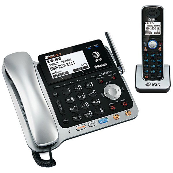 AT&T TL86109 Black / Silver 2 Line Corded / Cordless Phone System with Bluetooth and DECT 6.0 Technology