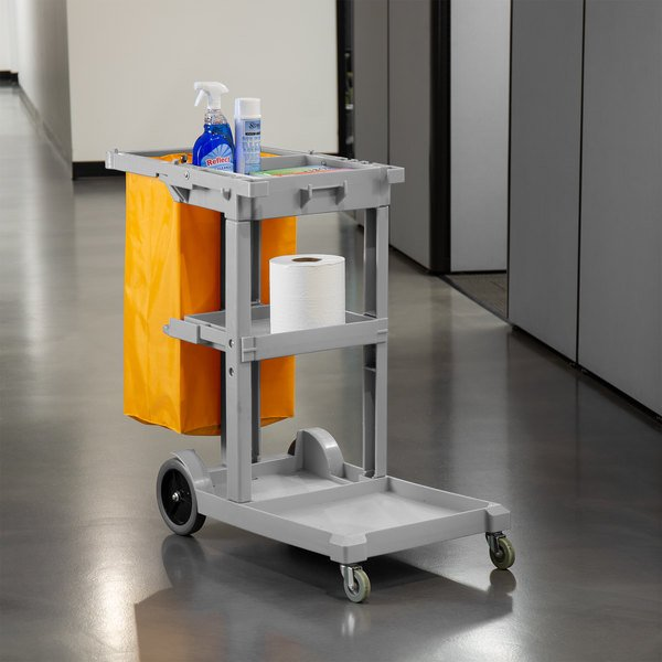 Lavex Janitorial Gray Cleaning Cart / Janitor Cart with 3 Shelves and Vinyl Bag