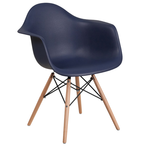 Flash Furniture FH-132-DPP-NY-GG Alonza Navy Plastic Chair with Wood Base Main Image 1