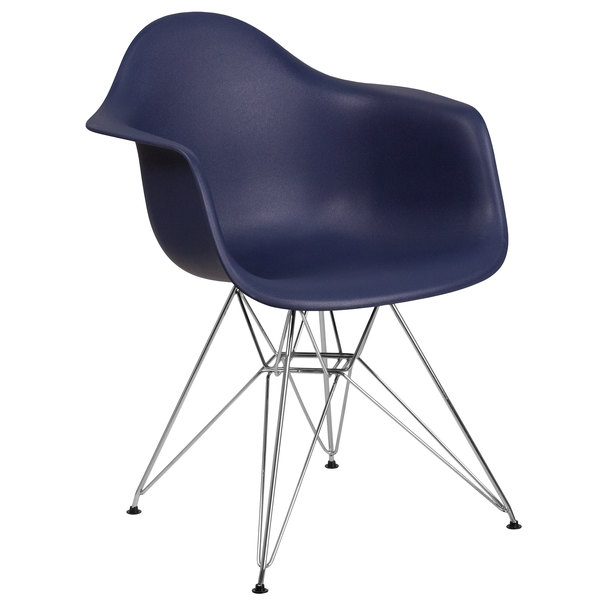 Flash Furniture FH-132-CPP1-NY-GG Alonza Navy Plastic Chair with Chrome Base Main Image 1