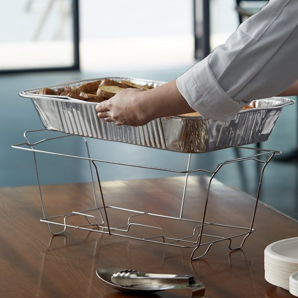 Choice Chrome Wire Chafer Stand for Full Size Disposable Pans Main Image 5