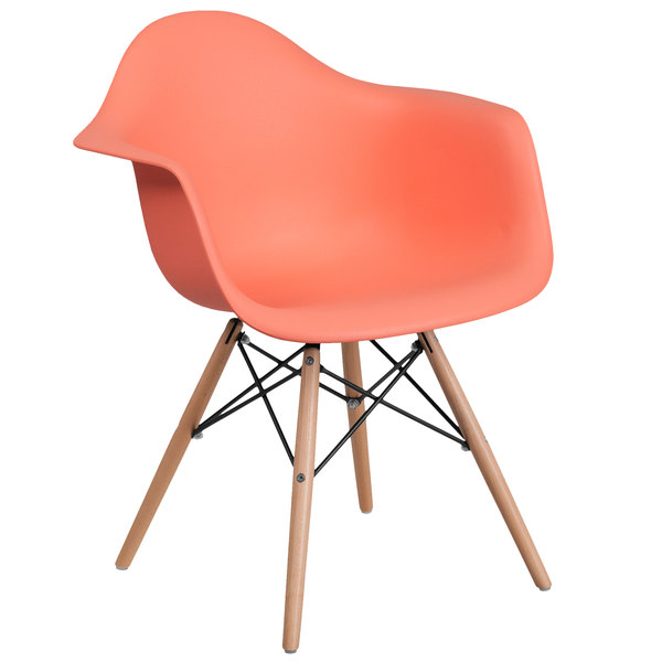Flash Furniture FH-132-DPP-PE-GG Alonza Peach Plastic Chair with Wood Base Main Image 1