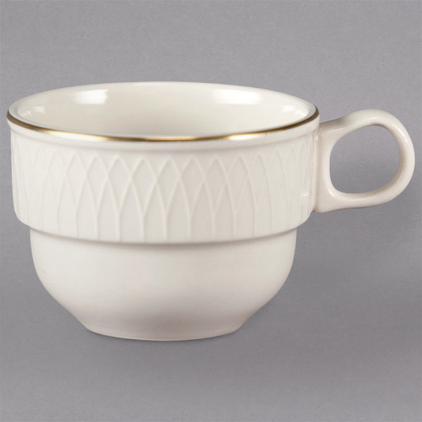 Homer Laughlin 1420-0314 Westminster Gothic Ivory (American White) 7.5 oz. Stacking Cup - 36/Case