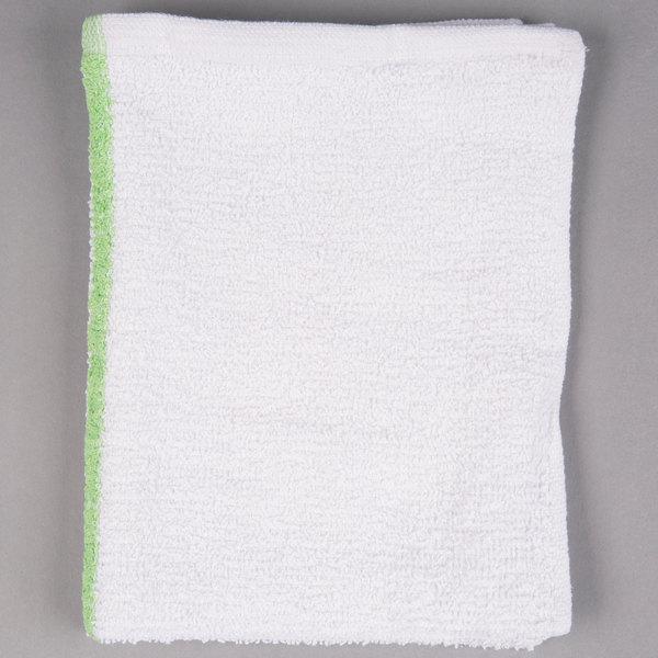 Choice 16 inch x 19 inch Green Striped 32 oz. 100% Cotton Bar Towel  - 12/Pack