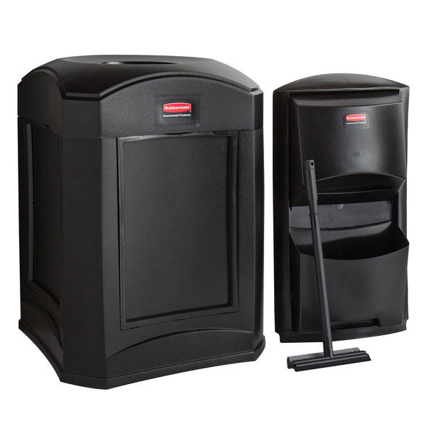 Rubbermaid Landmark Series 35 Gallon Black Wastecan with Funnel Top, Panel Frame / Rigid Plastic Liner and Windshield Washing Kit Main Image 1