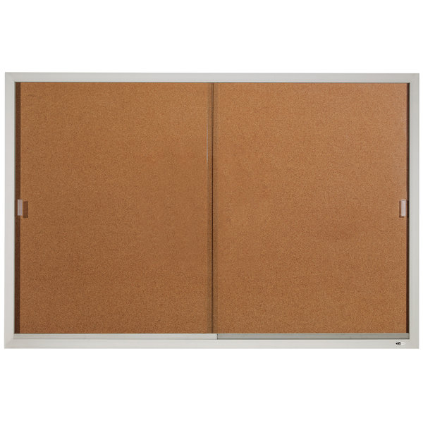 "Quartet D2405 Classic 72"" x 48"" Enclosed Sliding Natural Cork Bulletin Board with Aluminum Frame"