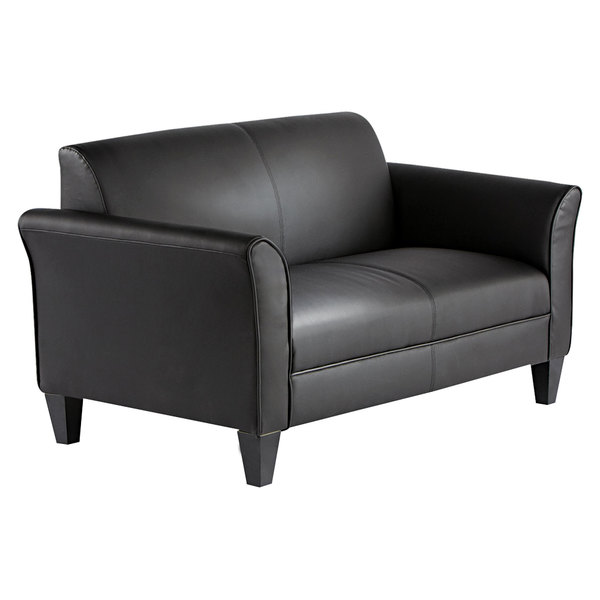 Alera ALERL22LS10B Reception Lounge Series Black Leather Loveseat with  Wooden Feet - 55 1/2