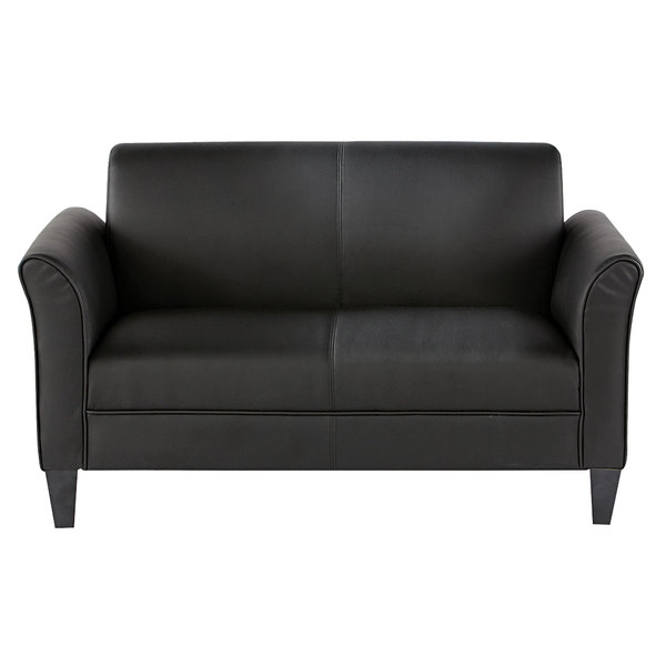Pleasant Alera Alerl22Ls10B Reception Lounge Series Black Leather Loveseat With Wooden Feet 55 1 2 X 31 1 2 X 32 Onthecornerstone Fun Painted Chair Ideas Images Onthecornerstoneorg